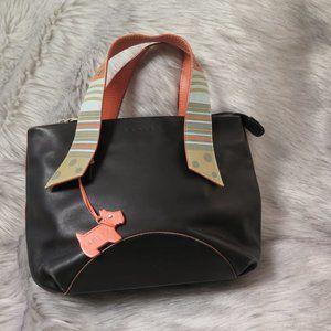 RADLEY - Black leather grab bag with decorative handles
